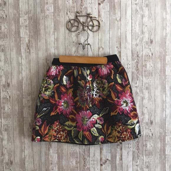 Anthropologie Dresses & Skirts - Anthropologie metallic floral mini skirt